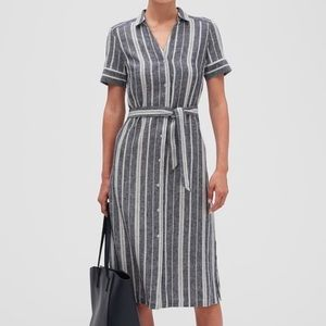 BANANA REPUBLIC Striped Linen Midi Shirtdress